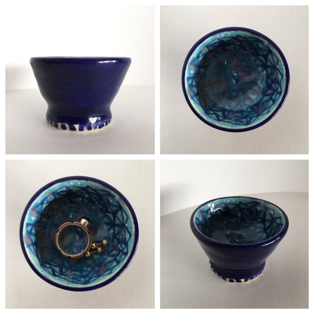 Image of Blue pedestal small bowl