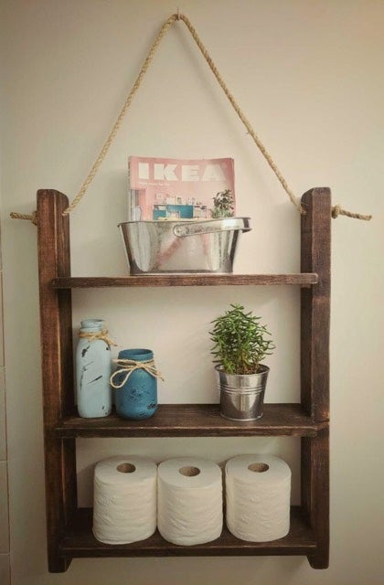 Image of Rustic Bathroom Storage Shelf