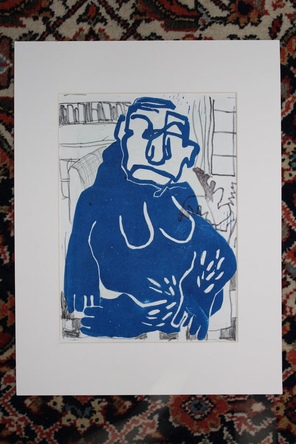 Image of Easy hang out Ape//Linoprint Drawing