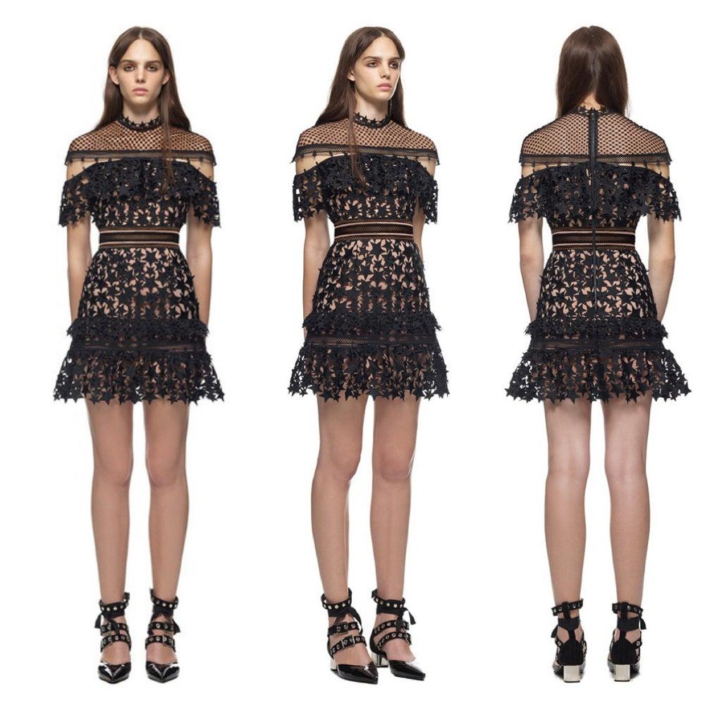 Image of GLAMOURFOXX LUXE Embroidered star lace eyelash dress
