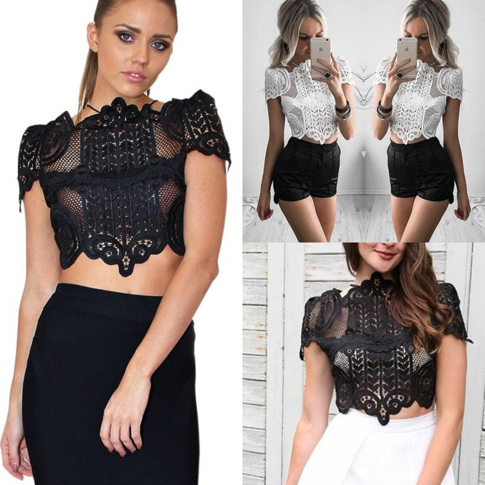 Image of Crochet embroidered lace crop top