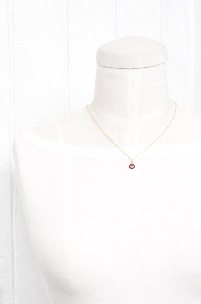 Image of Garnet solitaire necklace 14kt gold-filled