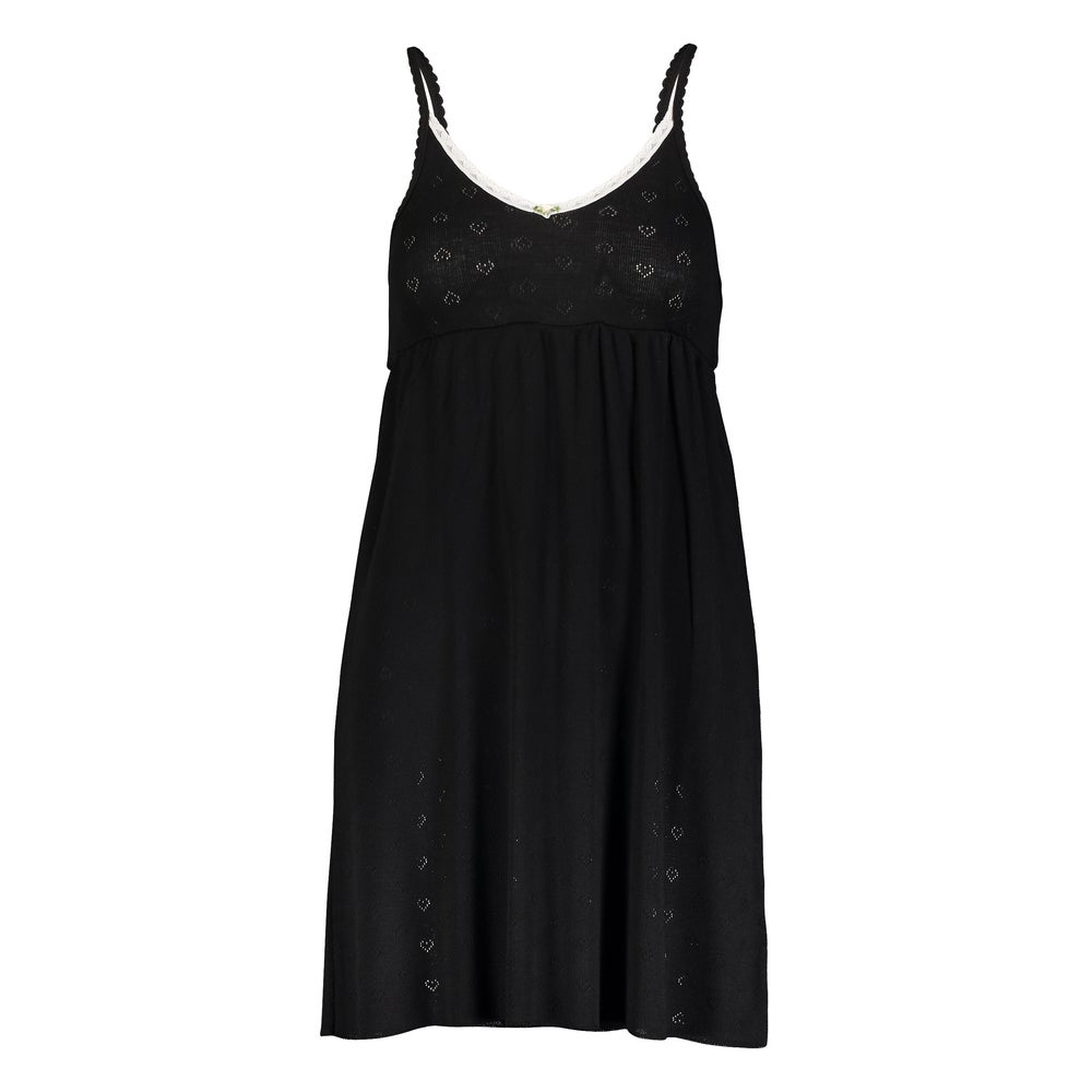 Image of Black heart pointelle cami babydoll dress