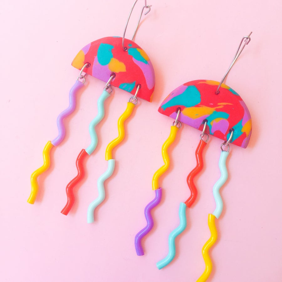 Image of Rainbow summer jellyfish earrings