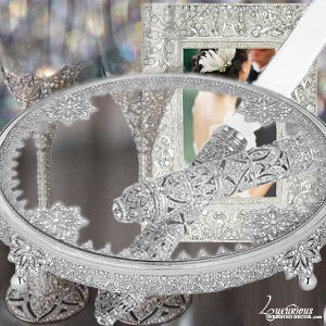 Image of Bliss Fleur Silver Cake Table Decor