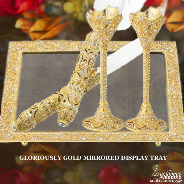 Image of Gloriously Gold Cake Table Mirrored Display Tray