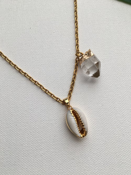 Image of FLOAT ON • Cowrie Shell & Clear Quartz Necklace