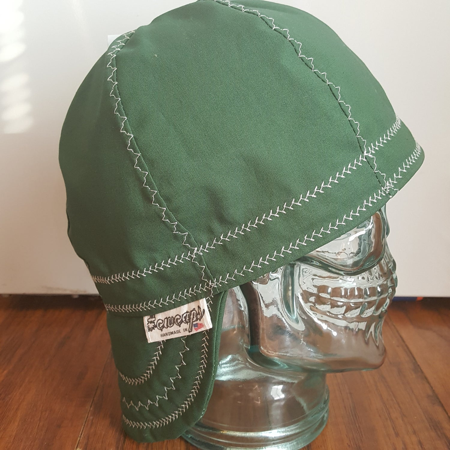 Image of Forest Green Welders Cap w/White Stitching