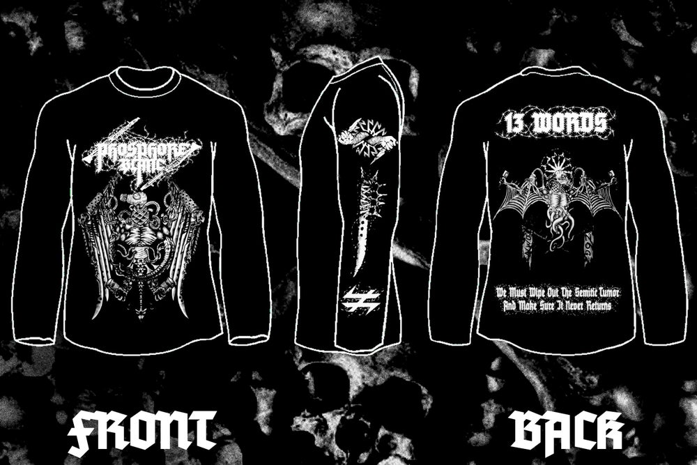 "Image of PHOSPHORE BLANC "" 13 Words"" double sided long sleeve t-shirt"