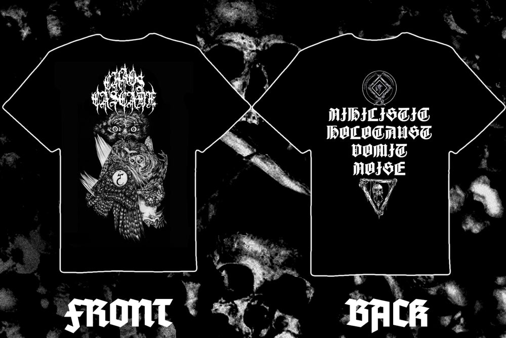 "Image of CHAOS CASCADE "" Ill-Omened Qayinitic Predation "" double sided short sleeve t-shirt"
