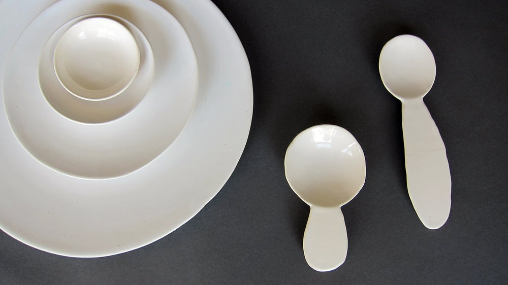 Image of Serving platter set and spoons