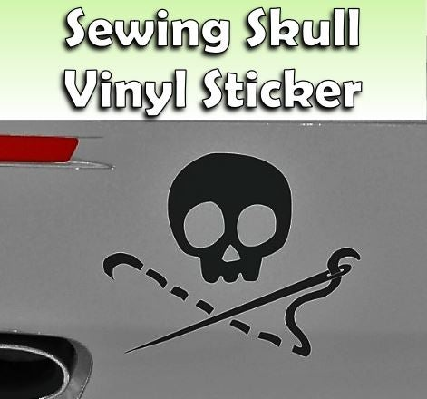 Image of NEW! Sewing Skull Black Vinyl Sticker