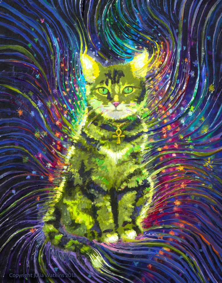 Image of Cosmic Cat Energy Painting - Giclee Print
