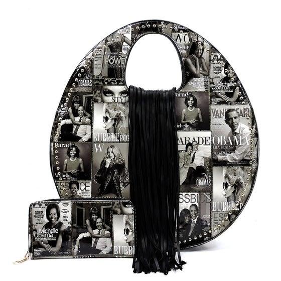 Image of Magazine Cover Round Satchel & Wallet Set
