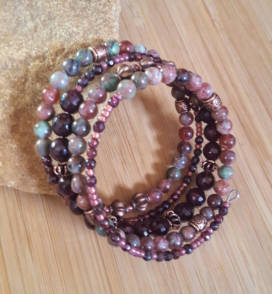Image of Garnet Stacking Wrap Bracelet