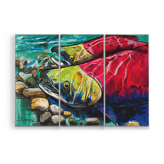 Image of Upstream Two Sockeye Metal Box Triptych