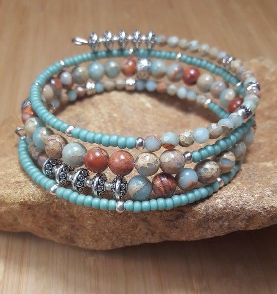 Image of Jasper Gemstone Wrap Bracelet