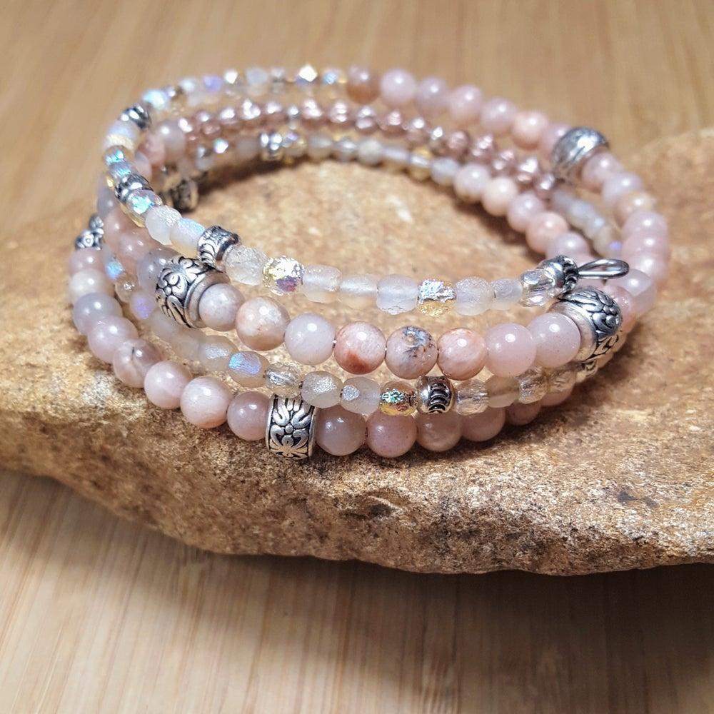 Image of Gemstone  Stacking Wrap Bracelet in Pink