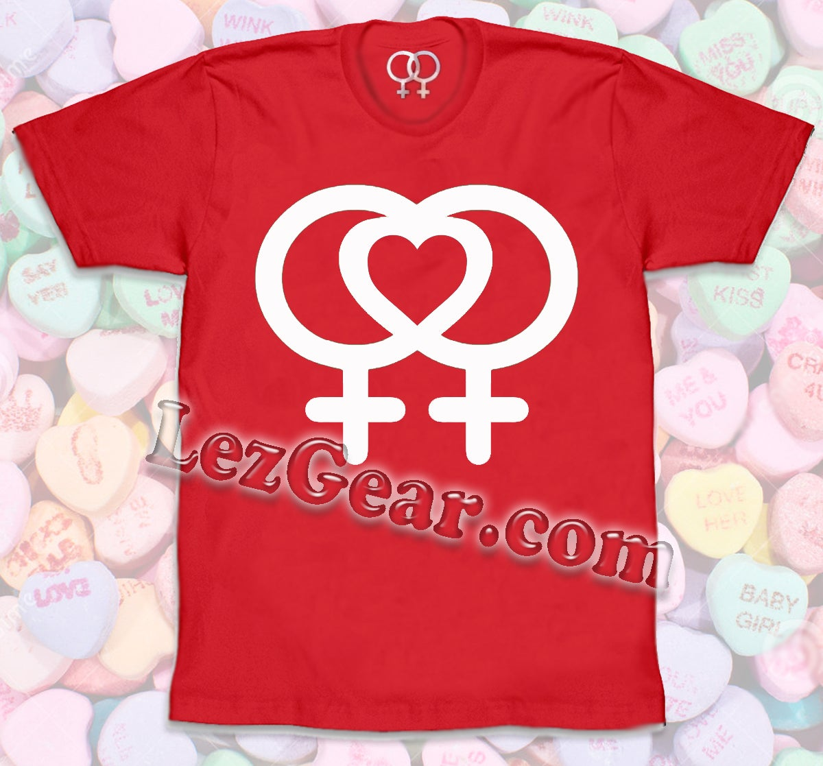Image of Valentine's  Day SPECIAL - LEZ heart LEZ love LOGO / RED