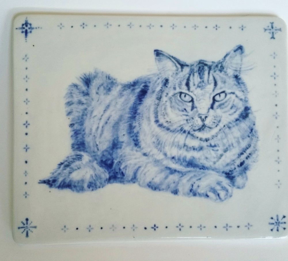Image of Cobalt Fat Cat  Handpainted/Scrafitto Porcelain Tile