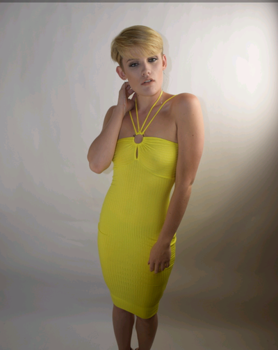 Image of Yellow halter fitted dress