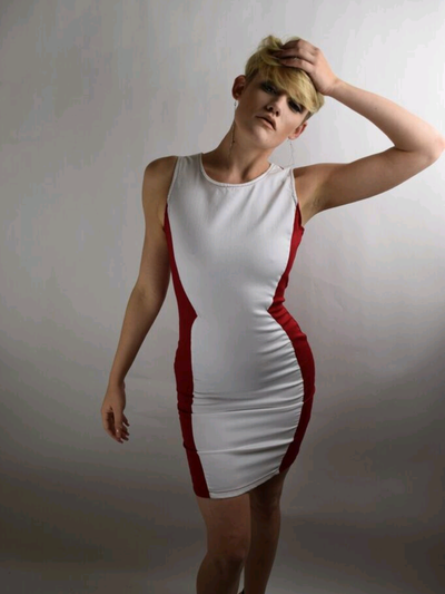 Image of Two tone red & white fitted dress