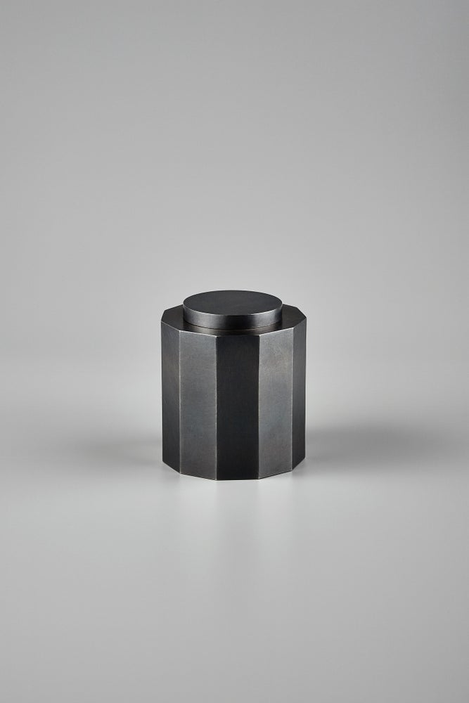 Image of Blackened 925 Nonagonal Tea Canister (Exhibition Piece)