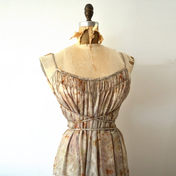 Image of eco print silk tissue peasant dress