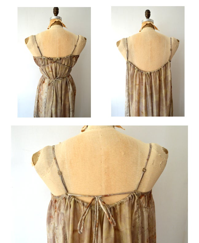 Image of eco print silk tissue peasant dress