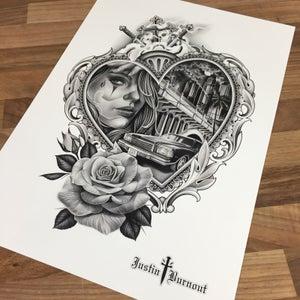 Image of JUSTIN BURNOUT 'MONTE CARLO' print -A3
