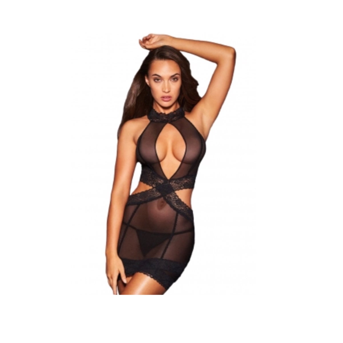 Image of Sexy See-Through Lace Halter Chemise