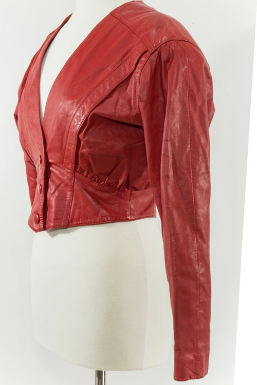 Image of Red Leather Cropped 80s Jacket