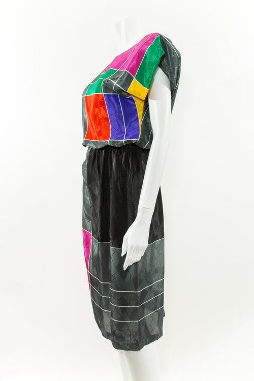 Image of Cubist Silk Secretary Dress