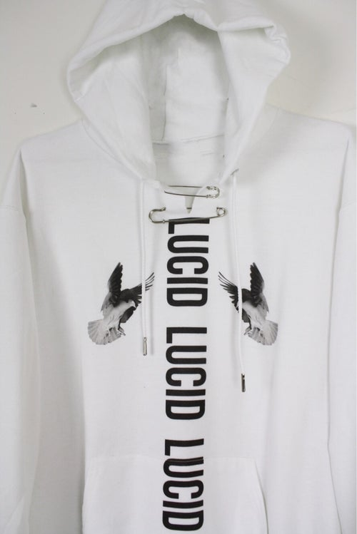 "Image of ""SHINE"" INDUSTRIAL SAFETY PIN HOODIE - WHITE"