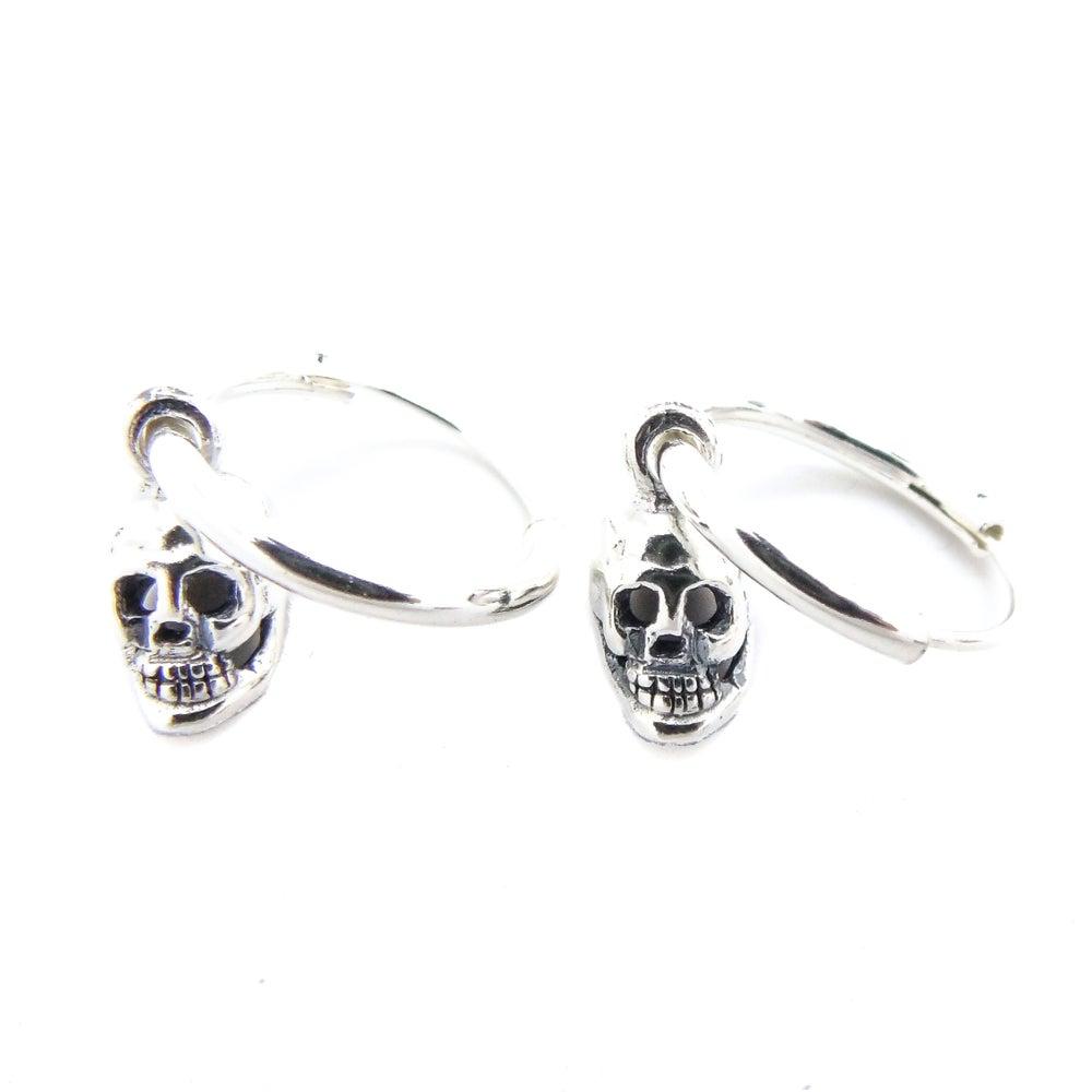 Image of Sterling Silver Skull Hoops