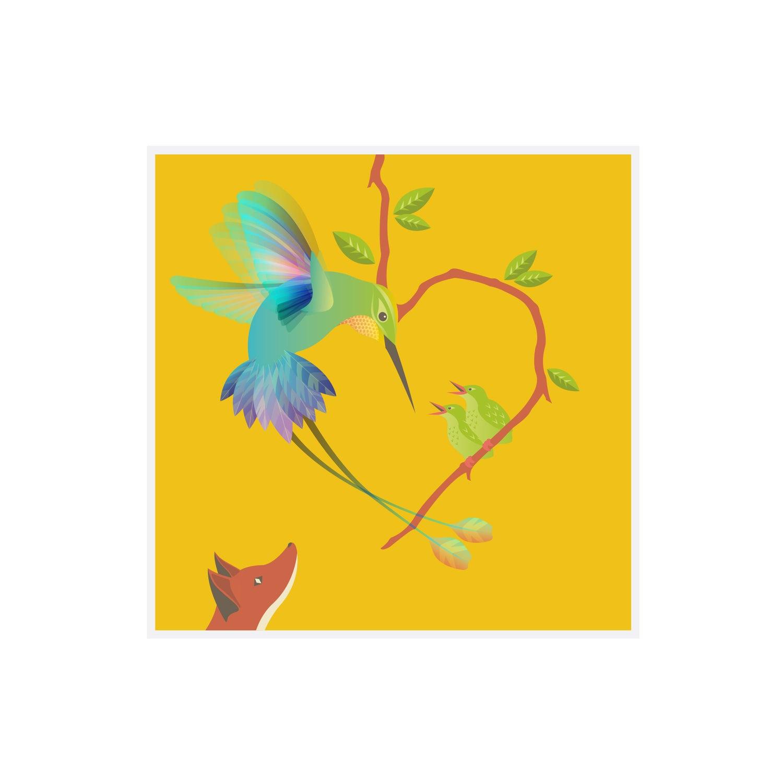 Image of The Fox & The Hummingbird Greetings Card