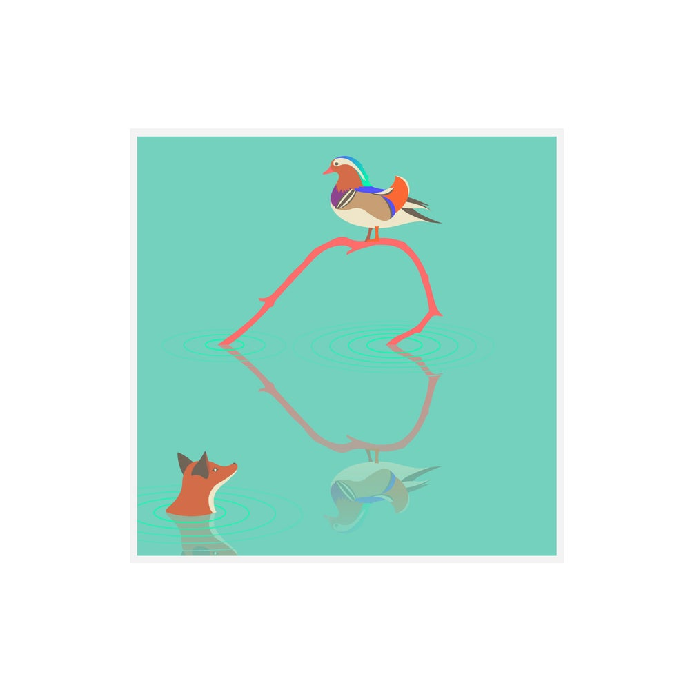 Image of The Fox & The Mandarin Duck Greetings Card