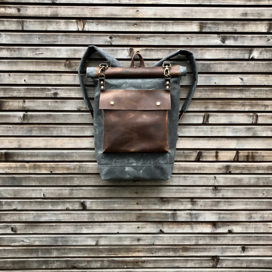 Image of Wax canvas rucksack - backpack with roll up top and double waxed bottem COLLECTION UNISEX