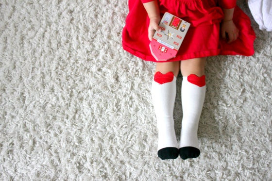 Image of Valentines heart knee socks