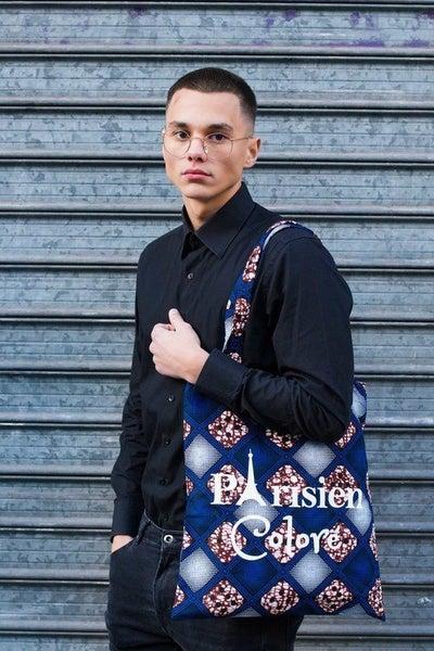 Image of Tote Bag Losanges Bleus Parisien Coloré 20% OFF