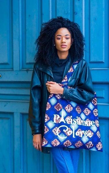Image of Tote Bag XXL Losanges Bleus Parisienne Colorée 20% OFF