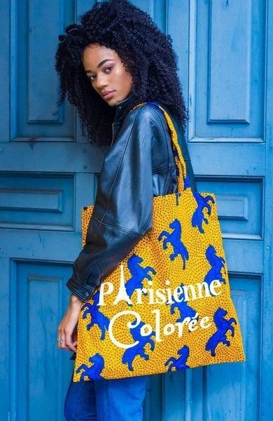 Image of Tote Bag XXL Cheval Bleu Parisienne Colorée 20% OFF