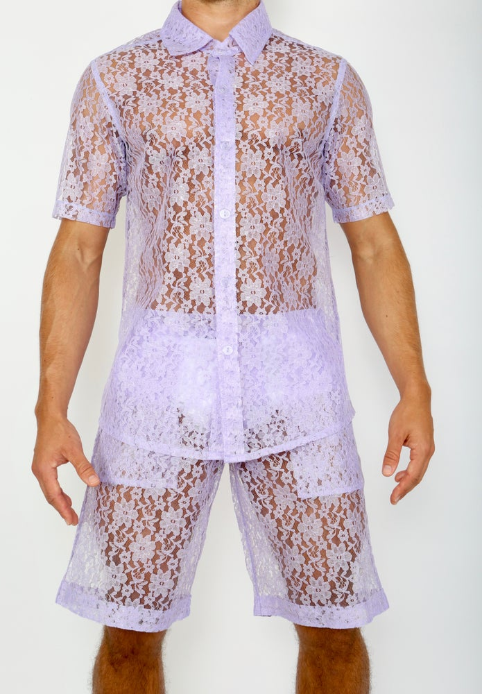 Image of LACE ME UP SHIRT- PURPLE