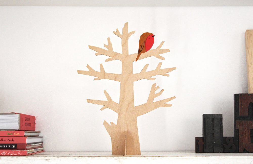 Image of Birch plywood hand-cut tree with robin