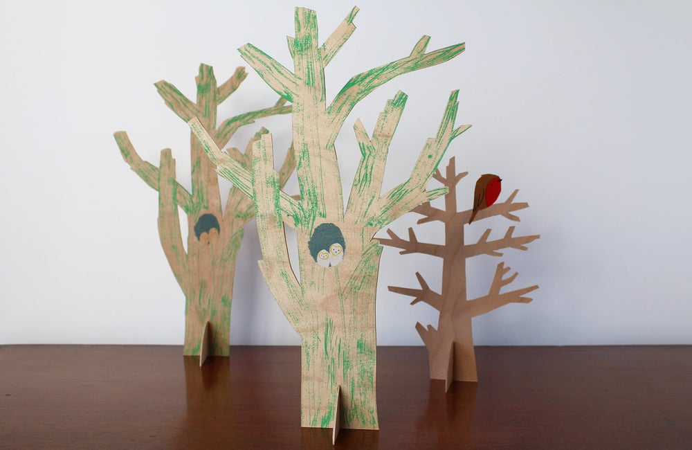 Image of One Birch plywood hand-cut tree with owl chicks detail