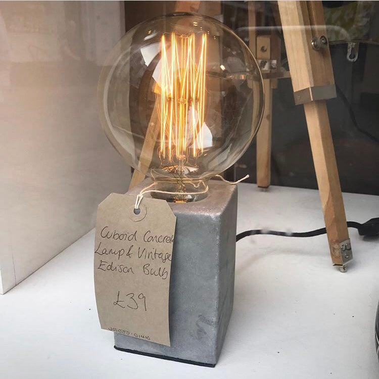 Image of Concrete Table Lamp including Edison Bulb