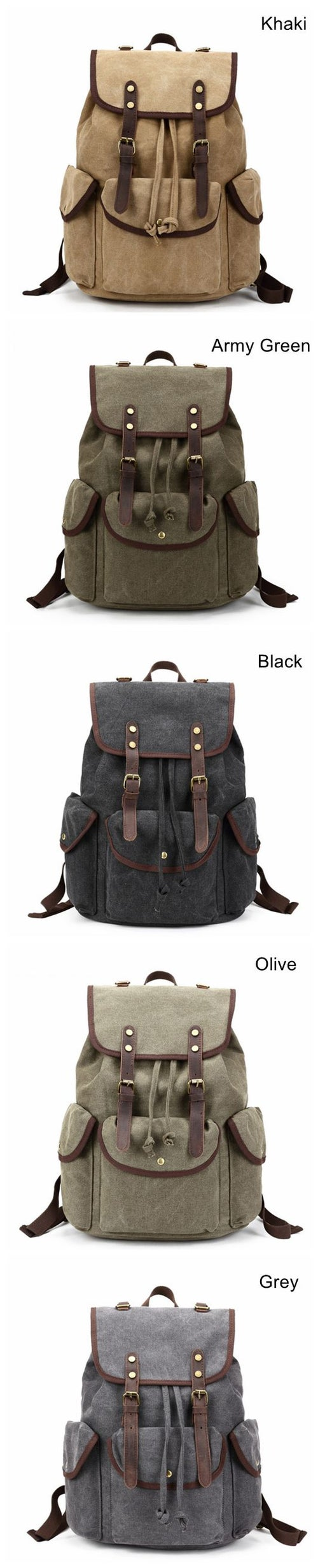 Image of Canvas with Leather Trim School Backpack, Rucksack, Travel Backpack FB06