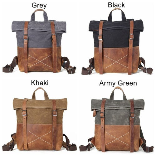 Image of Handmade Durable Canvas School Backpack, Rucksack, Travel Backpack FX1008