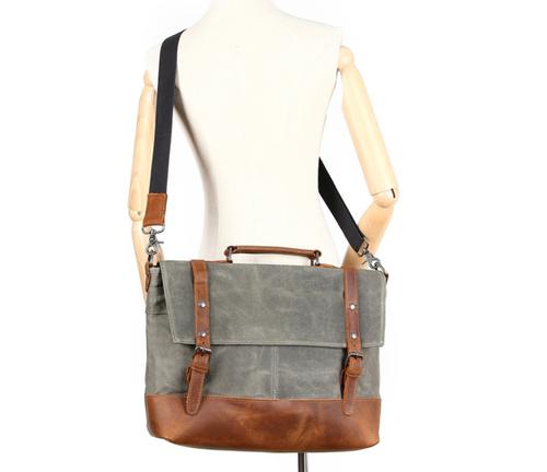 Image of Waterproof Waxed Canvas Messenger Bag, Men's Shoulder Bag, Canvas Bag with Leather Trim FX2008-1