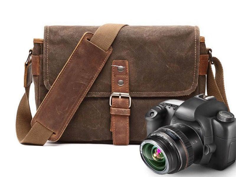 Image of Waterproof Waxed Canvas Camera Bag, Small Camera Bag, Shoulder Bag FX8816